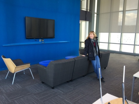 Virginia and the 70-inch flat screen in the lounge area