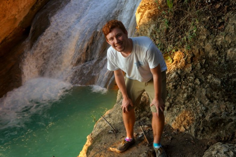 Kelly at the Bassin Zim waterfall.