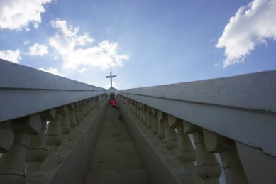 The cross atop the cathedral in Hinche.