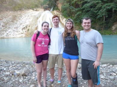 The Julium, Kelly, and Jack at the Bassin Zim waterfall.