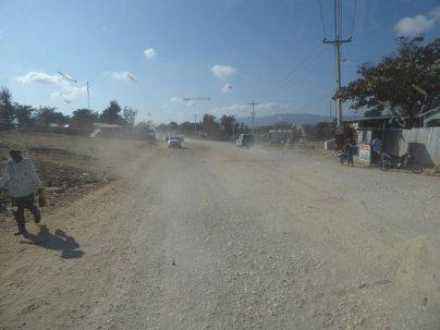 The road in Haiti. Dusty an dangerous.