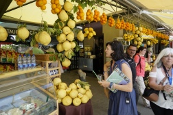 Huge lemons and our tour guide Sarah.