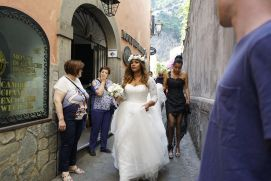 This bride was owning the walk to the church.