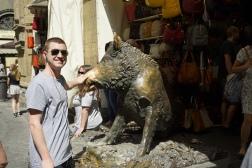 Pete overcomes his fear of the boar