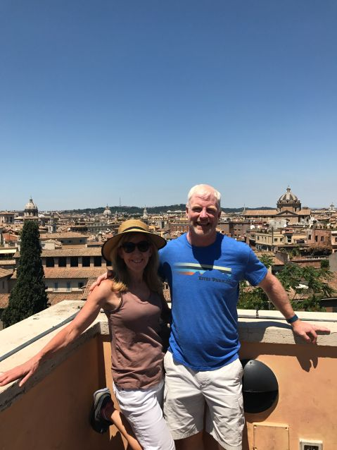On terrace overlooking Rome at Capitoline Museum.
